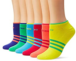 adidas Women\'s Superlite 6-Pack No Show Socks, Night Flash Purple/Flash Red-Pink Pink/Flash Lime/Bright Cyan/Bright Yellow/Bold Pink, Medium
