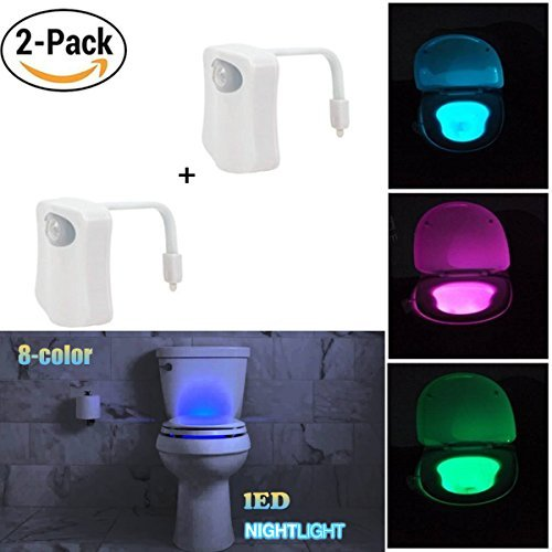 ADMOZ Multi-Color Motion Sensor LED Toilet Night Light – Light Detection Sensor– Cool New Fun Gadget for Him, Her, Men, Women or Birthday Kid – Funny Unique Gift Idea (2PCS)