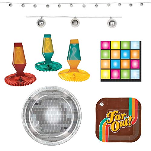 Fun Express 70's Party Bundle | Dinner & Dessert Plates, Luncheon Napkins, Centerpieces, Garland | Great for Retro Birthday Party, Christmas Party, Classroom Party, Costume Party -