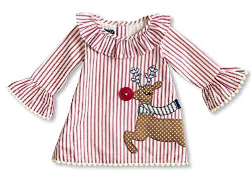 Mud Pie Baby Toddler Girls' Holiday Dress Ruffle, Reindeer Ticking, (Toddler Girl Boutique Dresses)