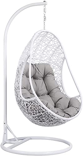 Yaheetech Hanging Rattan Swing Chair With Soft Cushion Armrest Design Outdoor/Indoor Garden Patio Furniture Stand