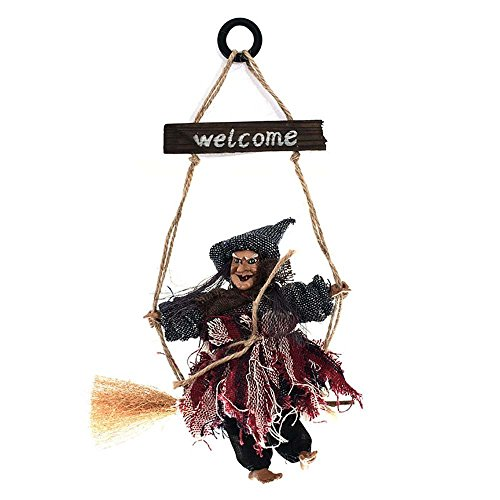 Club Witch - Vintage Wooden Halloween Hanging Props Welcome Sign Animated Witch Wall Door Hanger Halloween Decorations Haunted House Prop Decor Yard Outdoor Indoor Bar Club KTV Ornament Decoration Toys Gift
