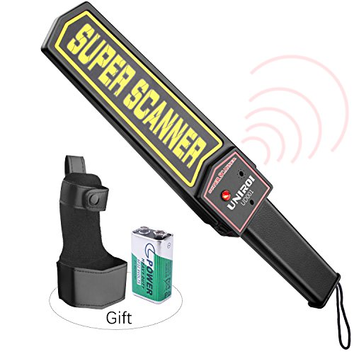 UNIROI Hand Held Metal Detector Wand Security Scanner with 9V Battery, Belt Holster, Adjustable Sensitivity, Optional Sound & Vibration Modes for Airport, Open Port, Frontier, Company Entrance UD001 Security Metal Detectors