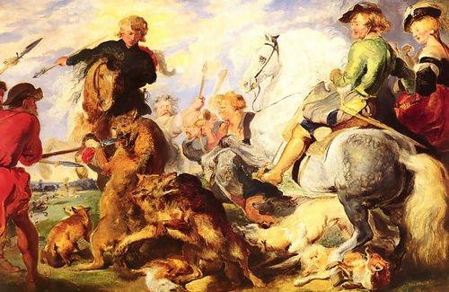 Sir Edwin Henry Landseer Wolf and Fox Hunt 109x72 [Kitchen]