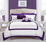 Chic Home 9 Piece Beckham Contemporary Geometric Reversible Bold Lines Hotel Collection Bed in Bag, Purple