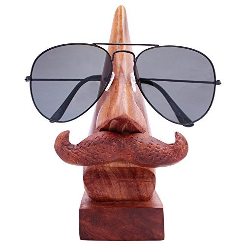 Deco Desk Rosewood Art - ITOS365 Handmade Wooden Nose Shaped Spectacle Specs Eyeglass Holder Stand with Mustache