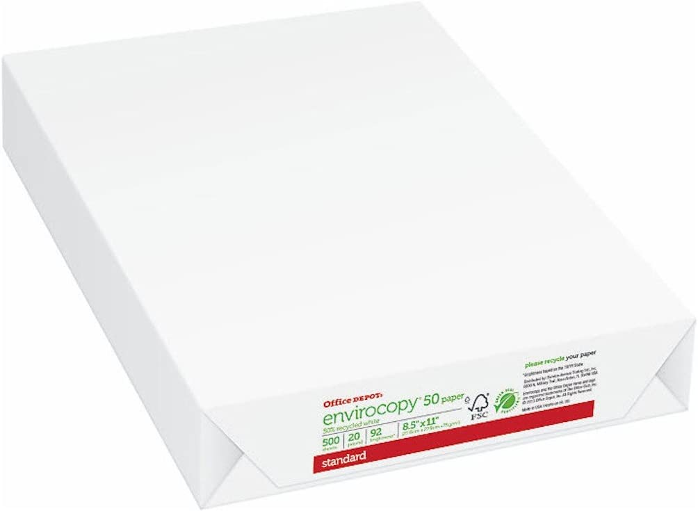Office Depot 50% Recycled EnviroCopy Copy Fax Laser Inkjet Printer Paper, 8 1/2 x 11 inch Letter Size, 20 Lb., 92 Bright White, FSC Certified, Ream, 500 Total Sheets (687073)