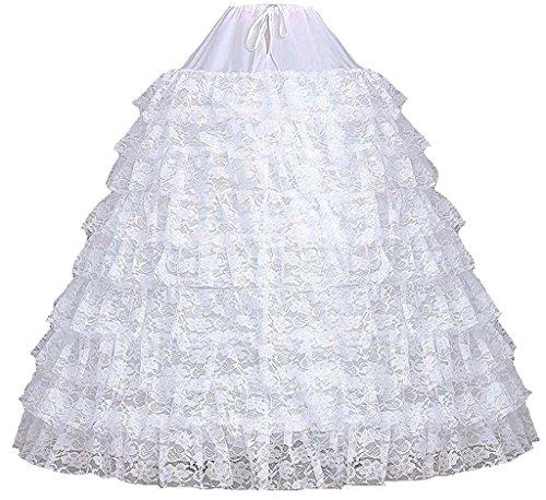Unterrock für 9 Petticoat Reifen Ballkleid Quinceanera Spitzen Weiß Rüschen 6 Dearta xf0w1nqB8n