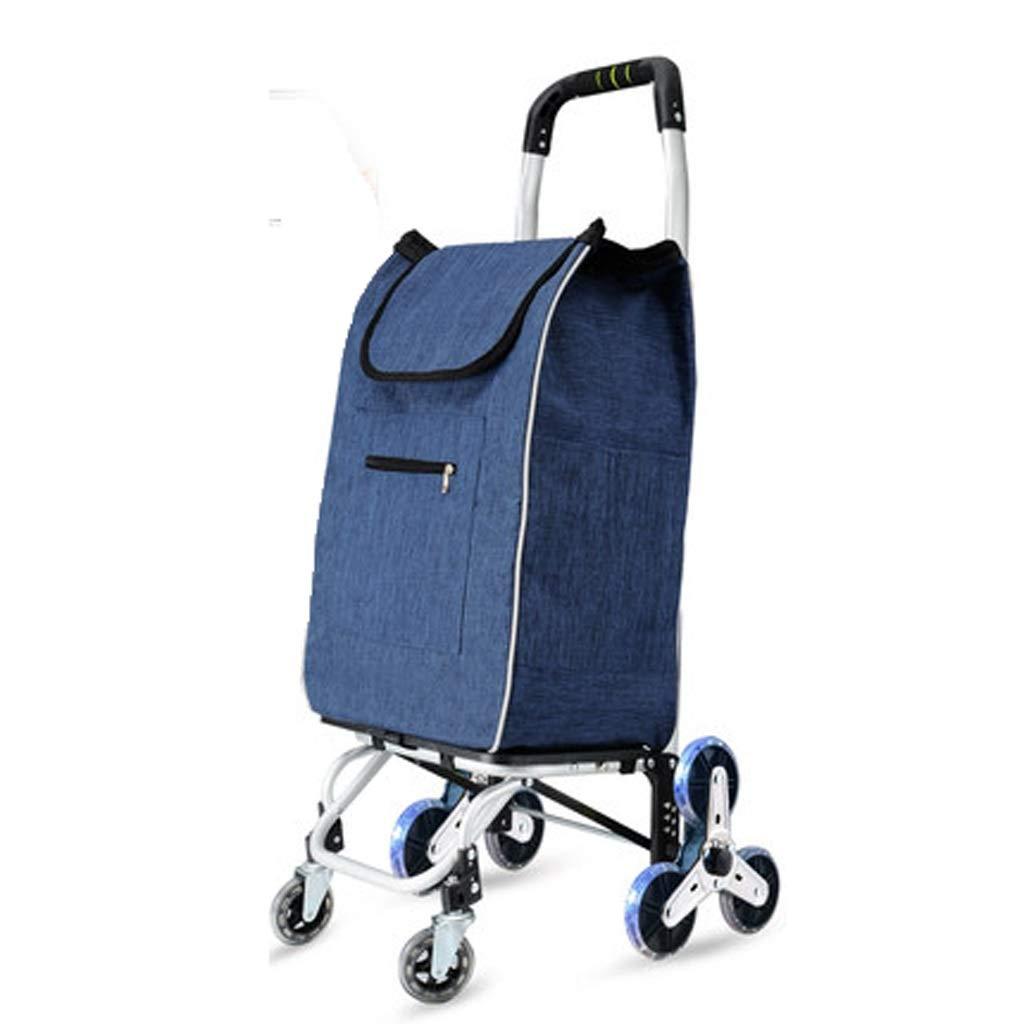 LLSDLS Shopping Cart, Small Hand Truck, Climbing Floor Folding Portable Household Cart Trolley Folding Shopping Trolley (Color : Blue)