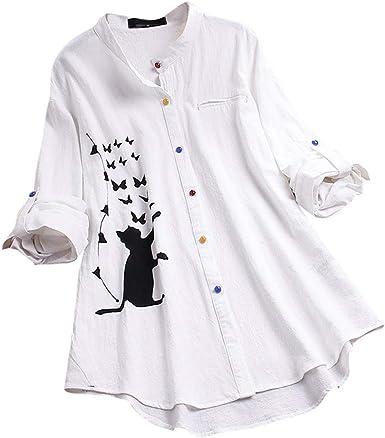 ALISIAM Camiseta Mujer Moda Casual Estampado de Gato Blusa de Manga Larga Camisa de Botones de Colores Suelta Cuello Redondo Tops Playa al Aire Libre Blusa de Verano: Amazon.es: Ropa y accesorios