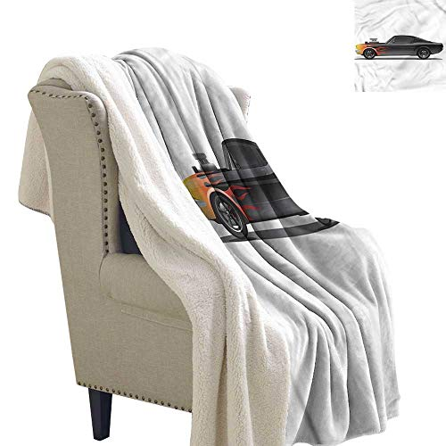 AndyTours Cashmere Velvet Cars Retro Supercharger Vehicle Upgraded Thick Lazy Blanket Blanket W59 x L31