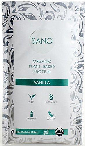 SANO Organic Plant Based Protein Powder (14 Single Servings), Vegan, Organic, Non GMO, Keto, Gluten Free, Dairy Free, Sugar Free (Packaging May Vary) (Vanilla Box)
