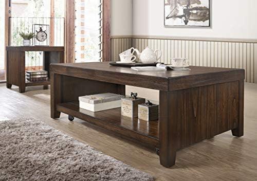 Vintage Dark Brown Black Metal Frame Cocktail Coffee Table with Lower Shelf