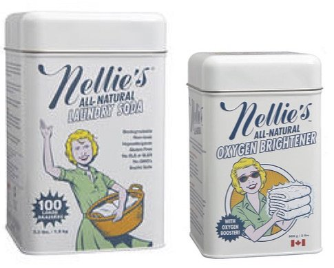 Nellie's Laundry Soda (3.3 lbs for 100 loads) and Nellie's Oxygen Brightener - All-Natural Cleaning Combo Package