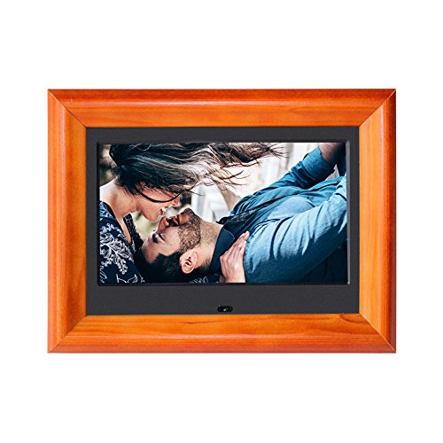 Digital Picture Frame SZSUPER 7 inch Digital Photo Frames with Video Player Stereo Calendar Auto On/Off Timer with Remote Control Electronic Picture Frames (Wood)