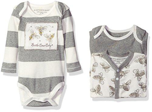 Burt's Bees Baby Baby Girls' Set of 3 Watercolor Organic Bodysuits, Heather Grey, 3-6 Months