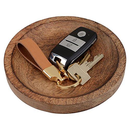 Richbud Full Grain Leather Gold Key Ring Lobster Swivel Keychain Fob (Black)