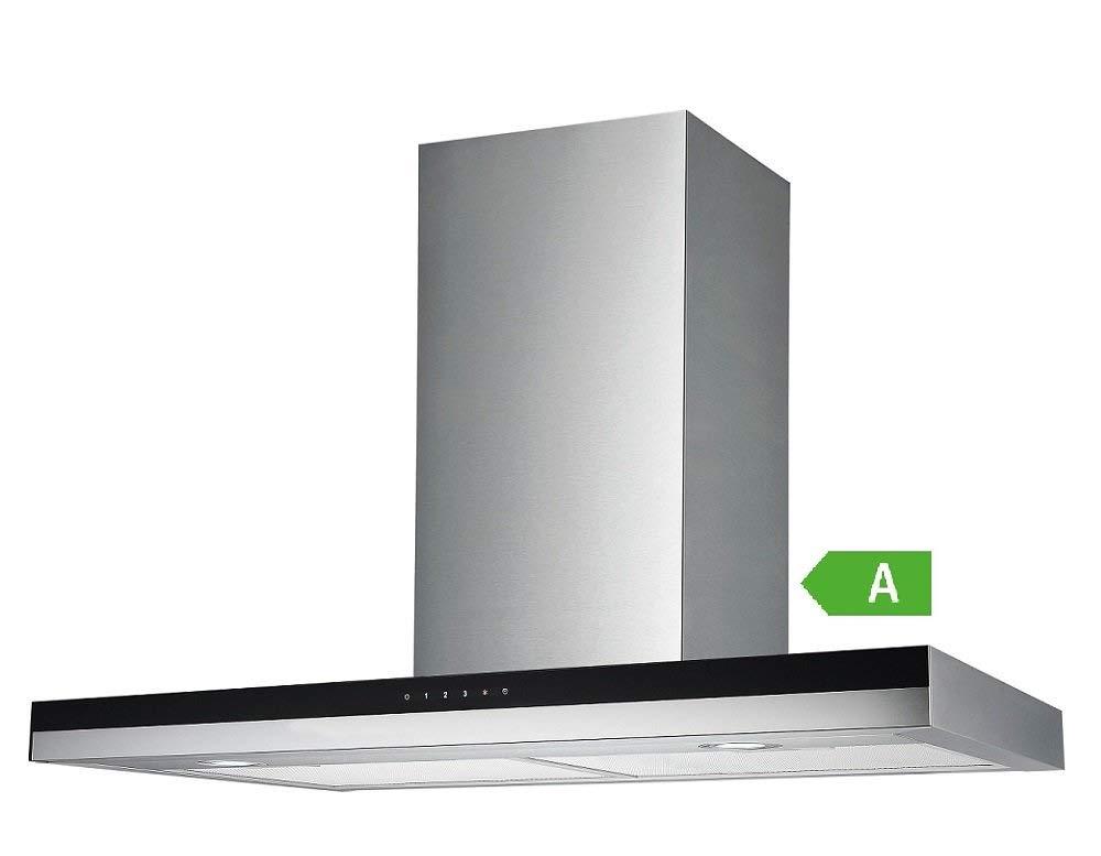 Vlano//TITANIUM 600 IX inkl Aktivkohlefilter 50 dB 60 cm//kopffreie Dunstabzugshaube//Schwarz Glas Panel//ECO LED//Touch//bis 900 m/³//h