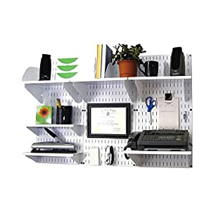 Wall Control Office Wall Mount Desk Storage and Organization Kit, White