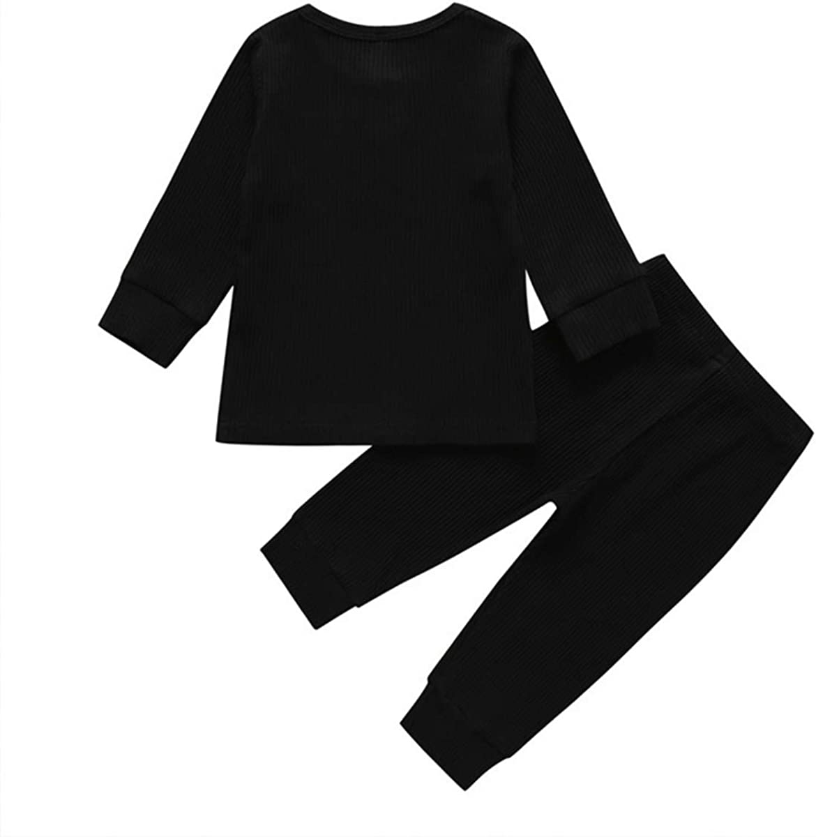 2PCS Baby Boys Girls Cotton Clothes Set Long Sleeve Tops Pants Pajama Solid Color Outfit Sleepwear