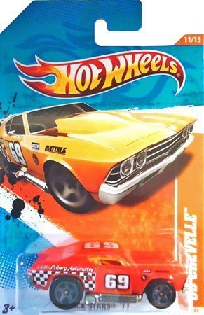 Hot Wheels '69 Chevelle Track Stars 11 - 11/15 - Translucent Orange with Gray, Black and White Tampos, Checkered Pattern,