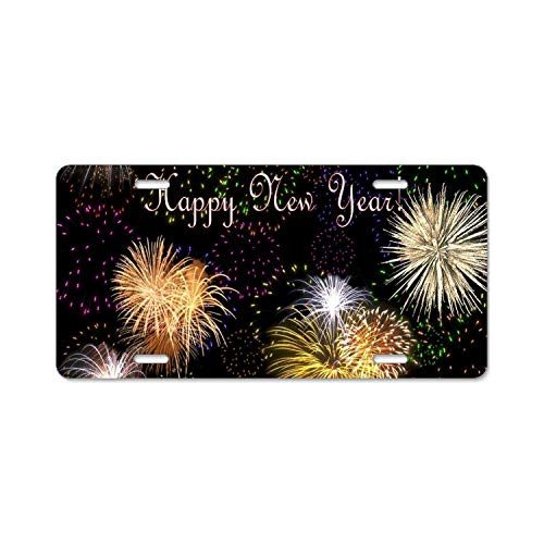 Price comparison product image Zogpemsy License Plate Covers Happy New Year Steel Metal License Plate Frame Style