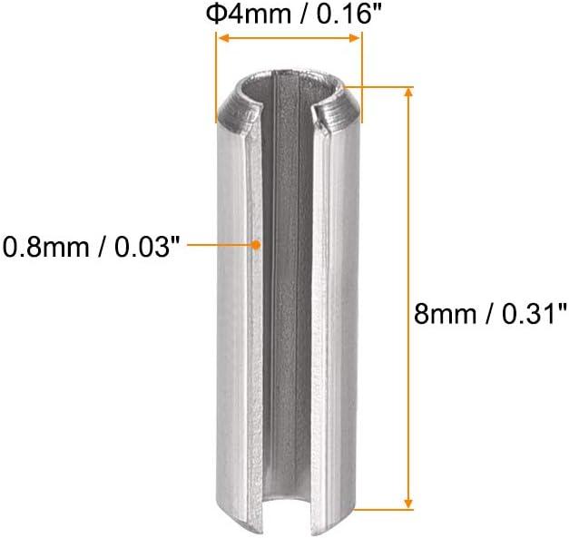 sourcing map 304 Acier Inoxydable Rouleau /à Ressort Fendu Goupilles Cylindriques Finition Unie 20Pcs M5 x 14mm