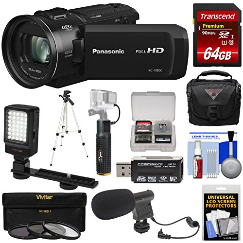Panasonic HC-V800 Wi-Fi Full HD Video Camera Camcorder with 64GB Card + Battery & Charger + Case + LED Light + Mic + 3 Filters - Panasonic Hd Led