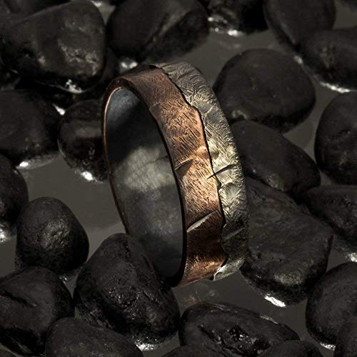 (Bark Copper Men's Ring, Two tone silver copper ring, Men's Wedding Band, Hammered Silver Copper Ring, Man's unique wedding Ring, RS-1136)