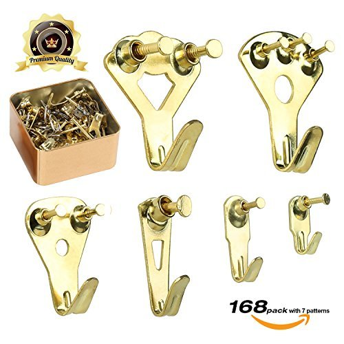Picture Hangers, Picture Hanging Kit, 168 Pieces Picture Frame Hangers for Heavy Duty Picture Frame with Wall Mounting Nails, Tin Box Included (Golden)