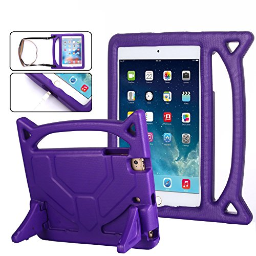 iPad Mini, iPad Mini 2, iPad Mini 3, iPad Mini 4 Case, Kids Shockproof Cover with Carrying Handle, Shoulder Strap & Stand [2018 Design] - Purple