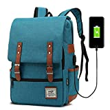 Junlion Unisex Business Laptop Backpack College Student School Bag Travel Rucksack Daypack with USB Charging Port Blue