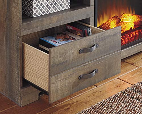 Signature Design by Ashley Trinell Large TV Stand with Fireplace Option Brown