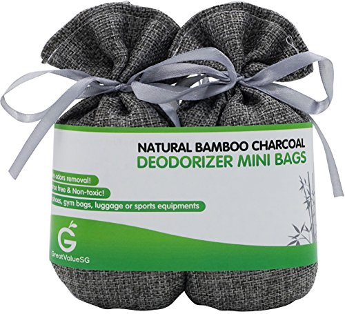 Price comparison product image BUY MORE SAVE MORE Great Value SG Bamboo Charcoal Deodorizer Mini Bags,  Best Air Purifiers for Smokers & Allergies,  Perfect Odor & Moisture Absorber for Shoe,  Gym Bag,  Drawer & Locker (Silver Grey)