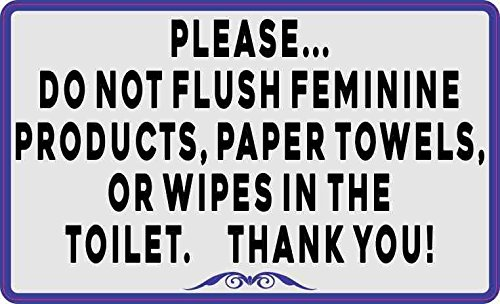 StickerTalk Please Do Not Flush Feminine Products Paper Towels or Wipes Vinyl Sticker, 5 inches by 3 inches