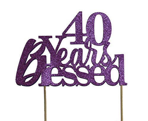 All About Details Purple 40-Years-Blessed Cake Topper ()