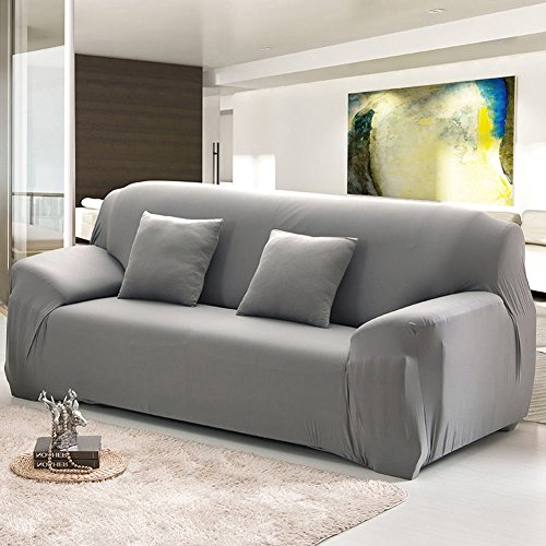 3 Seater 2 Seater - Cherry Juilt Stretch Sofa cover 1-Piece Spandex Non-Slip Couch Slipcover 3 Seater Polyester Furniture Protector Grey