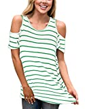 Women's Short Sleeve Cold Shoulder Tunic Stripes Tops Loose Blouse T-Shirt Green S