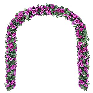 DearHouse Artificial Flower Rose Vine Garland, 8FT/Piece 2 Pack Realistic Artificial Flowers Fake Roses Flowers Plants for Home Kitchen Wedding Party Garden Craft Art Decor (Purple) 1