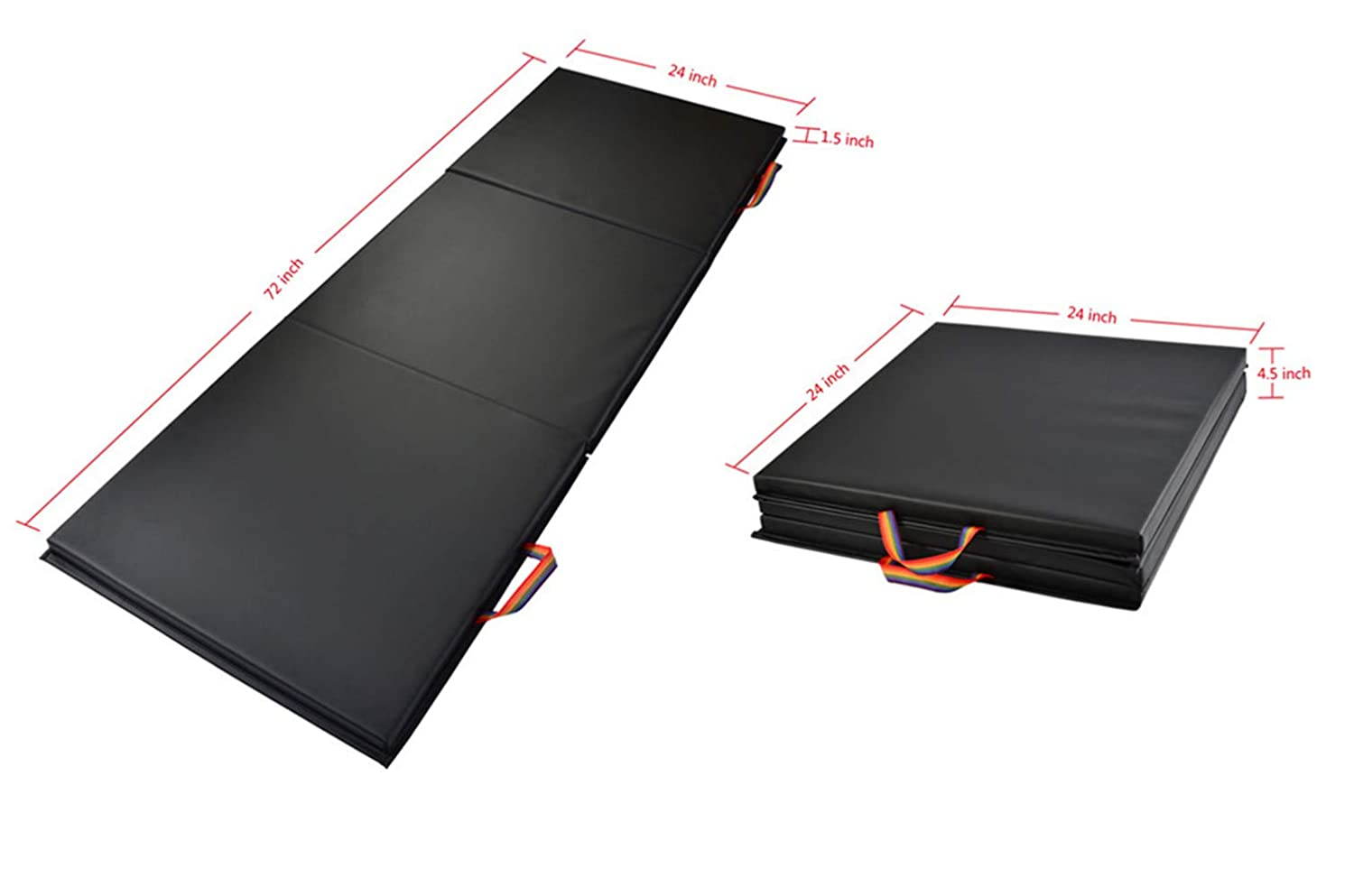 Amazon.com : KTOURT Exercise Mats-Folding Thick Gym Mat with ...