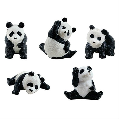 12 Mini Panda Bear Figures - 5 Poses Miniature Figurine Pandas Little Wild Life Safari Toy Animal Cake Toppers Black Bear