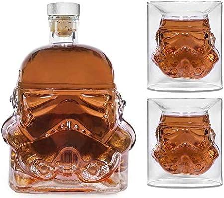 Bkuter Bottle - Jarra de whisky creativa transparente para Whisky, Vodka y vino, 1 botella Stormtrooper (750 ml) y Stormtrooper 2 vasos (8,5 x 9,5 x 9 cm)