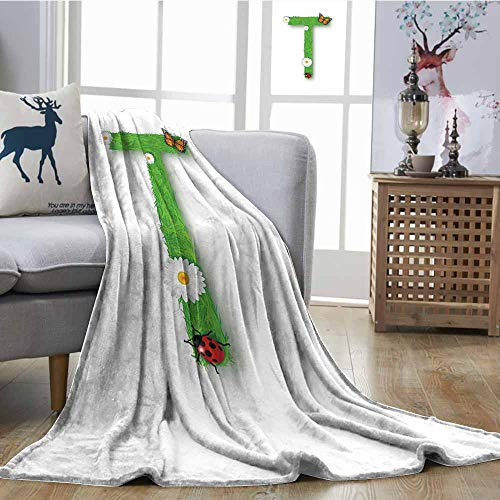 (SONGDAYONE Multicolor Blanket Letter T Easy to Clean Caps T with Flourishing Fragrance Botanical Design and Ladybug Girls Room Green Multicolor W63 xL63)