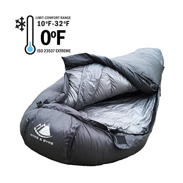 Hyke & Byke 0 Degree F 625 Fill Power Hydrophobic Sleeping Bag with Advanced Synthetic - Ultra Lightweight 4 Season Men's and Women's Mummy Bag Designed for Backpacking 5
