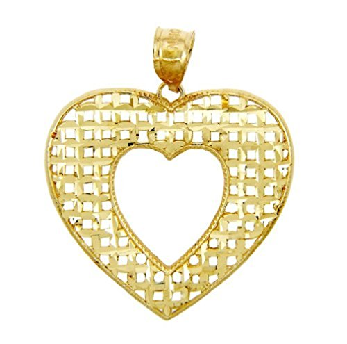 (14K Yellow Gold Basketweave Heart Pendant)