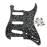 IKN 3Ply Vintage ST Strat Style Guitar Pickguard Scrach Plate for 8 Hole Strat Style Guitar, Black Pearl