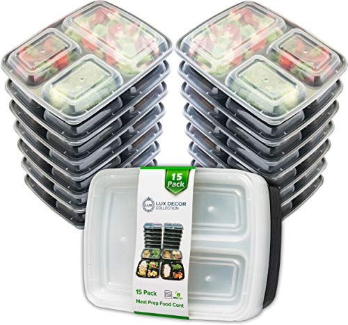 Lux Decor Meal Prep Containers - 15 Pack - 3 compartments with Lids, Food Storage Bento Box - Stackable & Reusable Lunch Boxes - BPA Free - Microwave/Dishwasher/Freezer Safe,Portion Control - 24oz