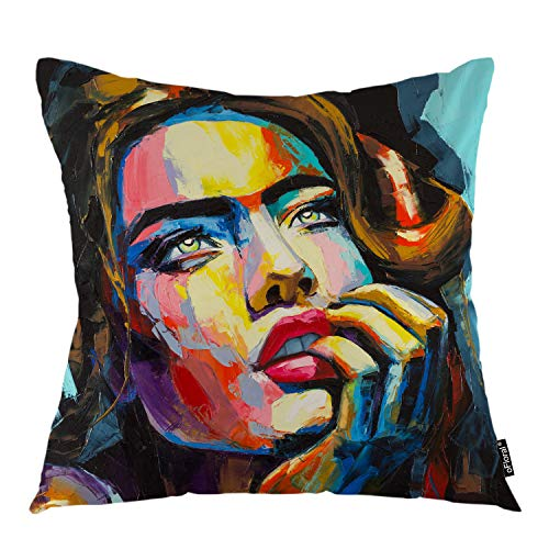 oFloral Female Throw Pillow Covers Oil Paint Fantasy Woman Portrait Girl Face Decorative Square Pillow Case 18″X18″ Pillowcase Home Decor for for Sofa Bedroom Livingroom