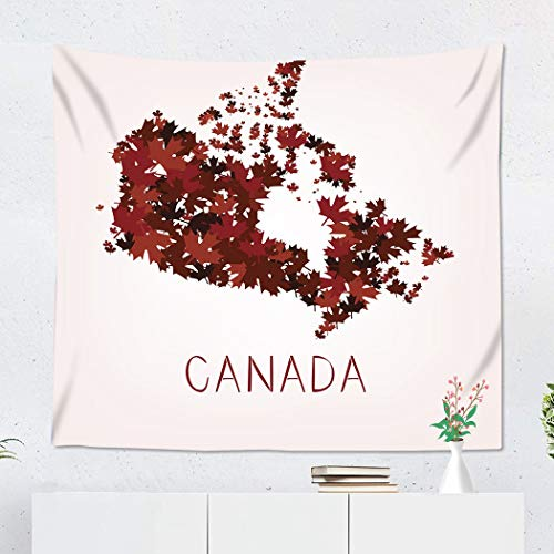 Suklly Tapestry Wall Hanging Polyester Red Canadian Maple Leafs Map of Canada Ontario Tree Abstract Artistic Autumn Home Decor Living Room Bedroom Dorm 50 x 60 inches Picnic Mat Beach Towel (French Bulldog Puppies For Sale In Canada)
