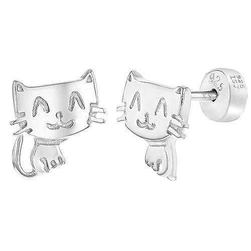 Pendientes de plata de ley 925 con diseño de gato, para niñas ...